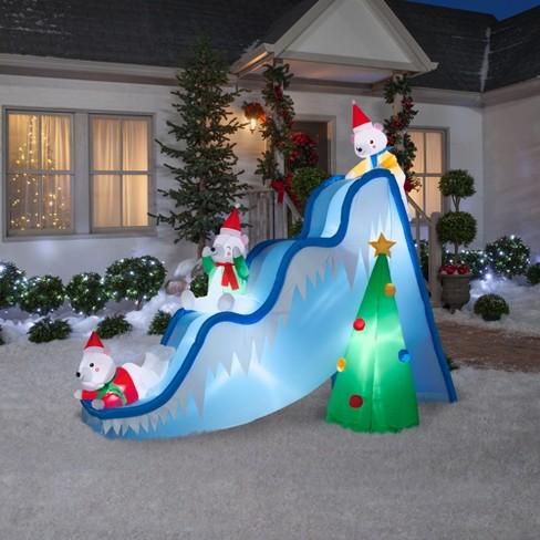 holiday inflatable decoration polar bears on slide target - Polar Bear Inflatable Christmas Decorations
