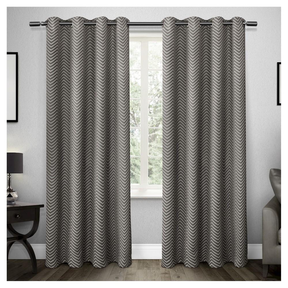 Set of 2 / Pair Chevron Blackout Thermal Grommet Top Window Curtain Panels Black(52