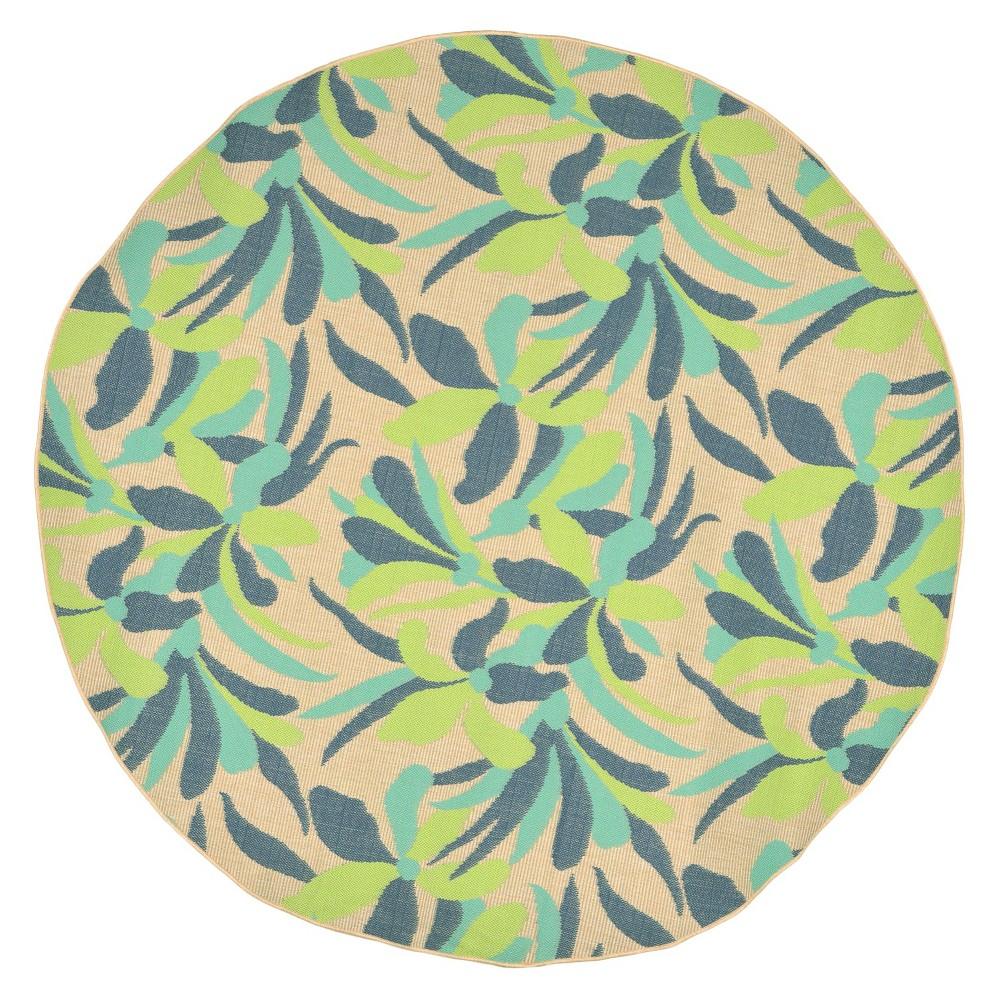 Playa Indoor/Outdoor Flower Cool Round Rug 7'10 Blue - Liora Manne