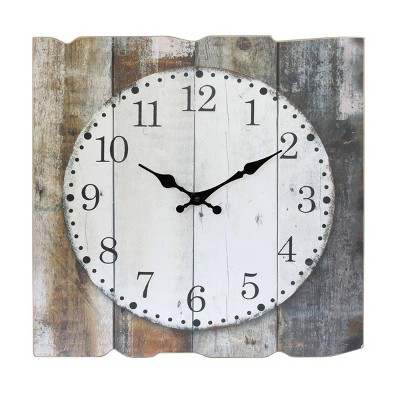 "15.7"" x 15.7"" Rustic Wooden Wall Clock White/Brown - Stonebriar Collection"