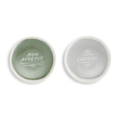 DEMDACO Cheers! Wine Appetizer Plates - Set of 2 Green