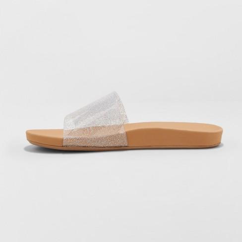 224354251 Women s Pixie Glitter Slide Sandals - Shade   Shore™ Silver   Target