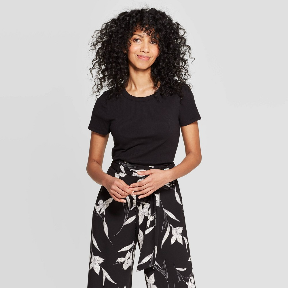 3a0d227f1b22 Womens Regular Fit Short Sleeve Crewneck T Shirt A New Day Black XL