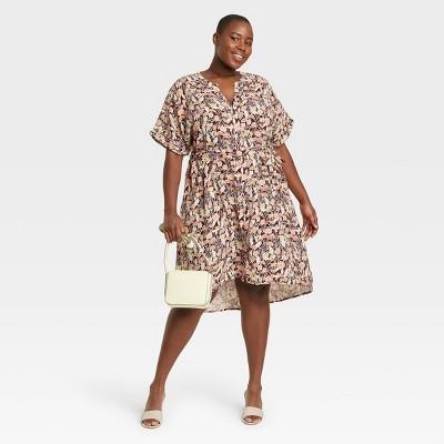 Women's Plus Size Short Sleeve Shirtdress - Ava & Viv™