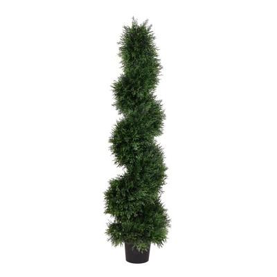 Artificial Cedar Spiral On Pot (UV) (4') - Vickerman
