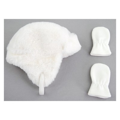 Baby Girls' Faux Fur Hat and Mitten Set - Cat & Jack™ Ivory Newborn