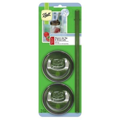 Ball Set of 2 Mason Jar Sip and Straw Lids - Regular Mouth