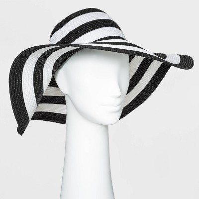 Women's Packable Essential Striped Straw Floppy Hat - A New Day™ One Size