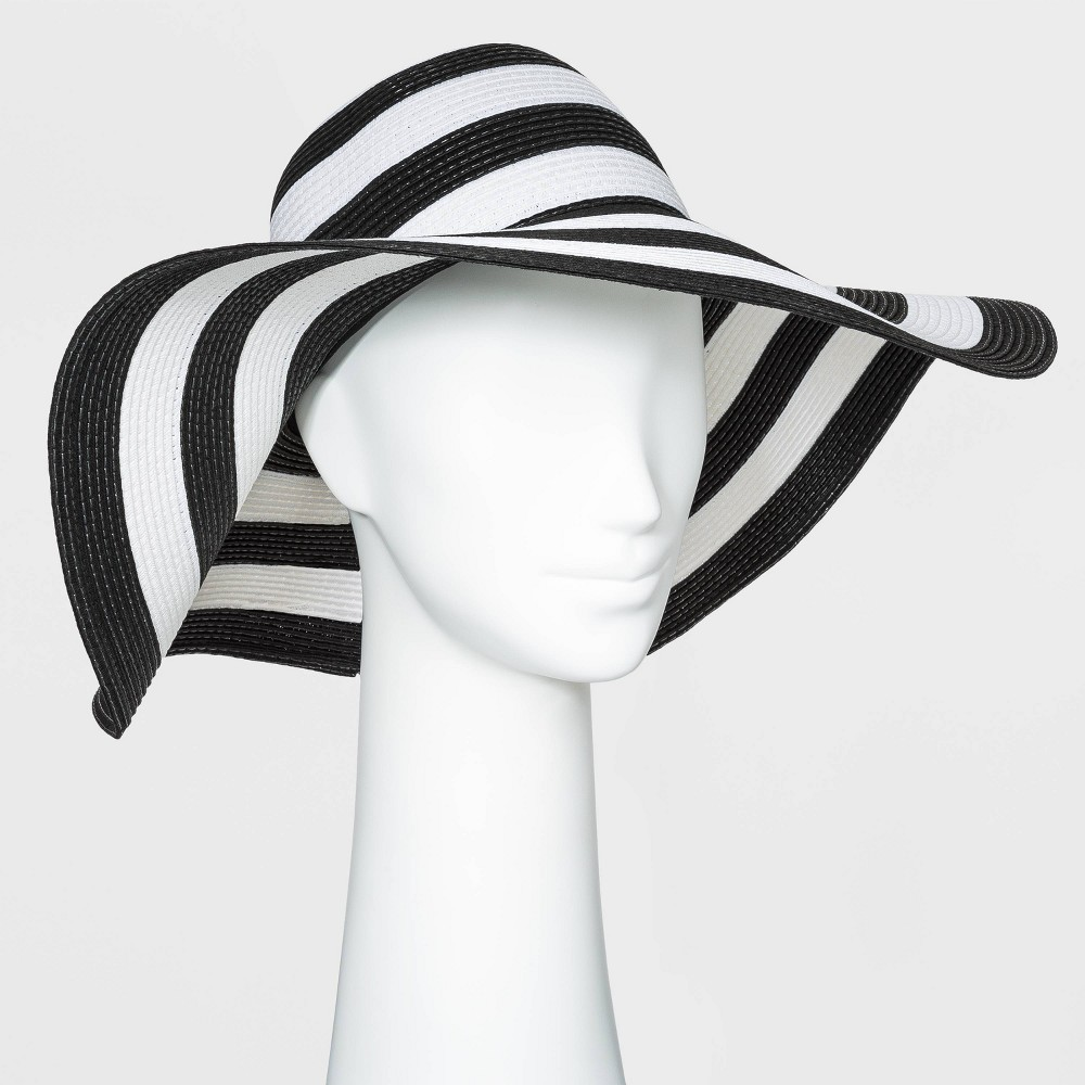 Promos Women' Packable Eential triped traw Floppy Hat - A New Day™ Black