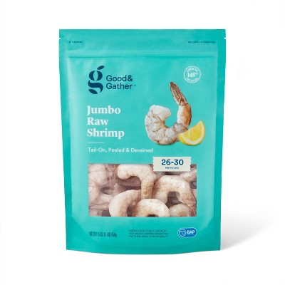 Jumbo tail On Peeled & Deveined Raw Shrimp - Frozen - 26-30ct - Good & Gather™