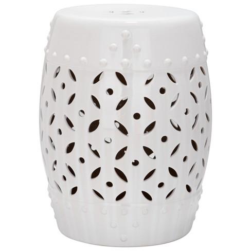 Astonishing White Lattice Coin Garden Stool White Safavieh Gamerscity Chair Design For Home Gamerscityorg