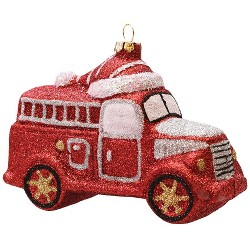 """Northlight 4.75"""" Bright Red and White Glitter Shatterproof Fire Truck Christmas Ornament"""