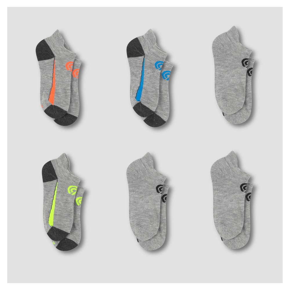 Boys' 6pk Heel Shield Performance Socks - C9 Champion Gray M