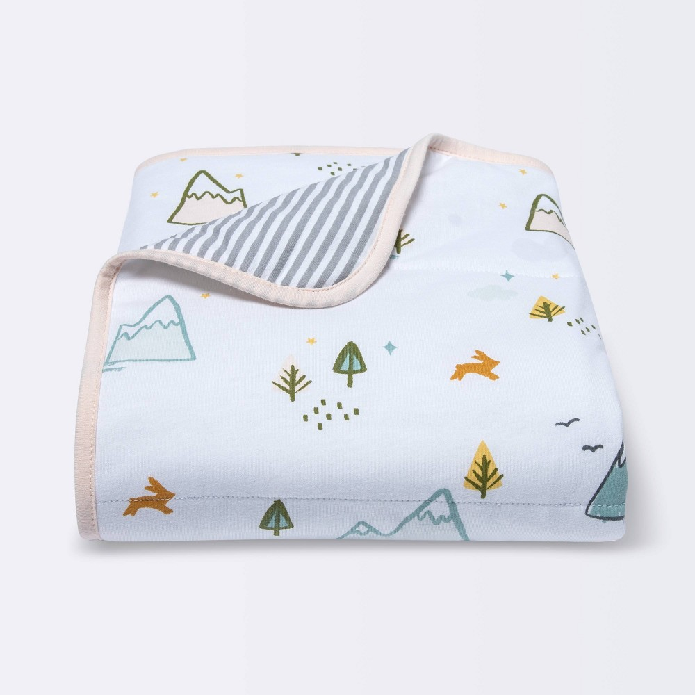 Jersey Knit Reversible Baby Blanket Adventures Cloud Island 8482 White Gray Pink