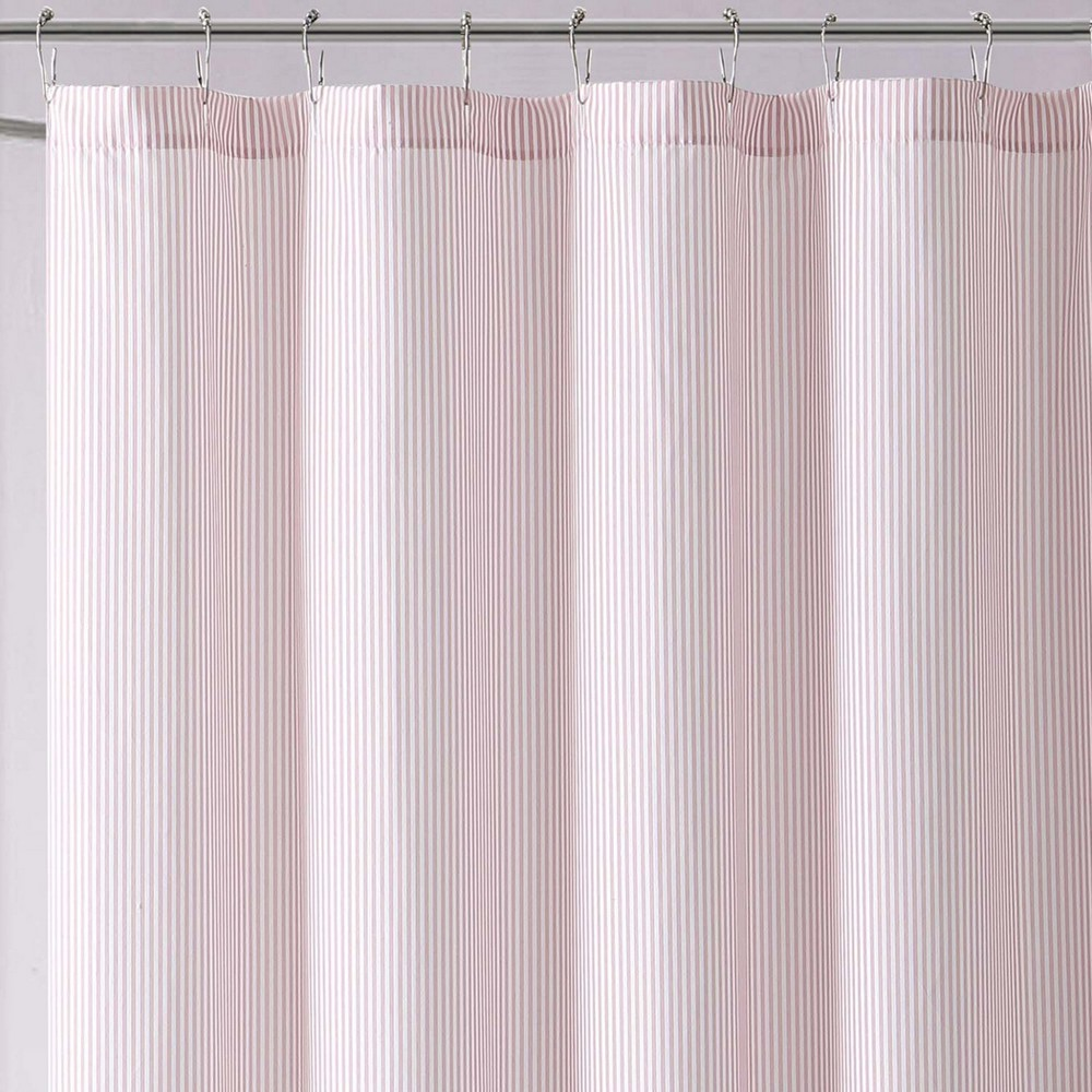 Image of Anytime Striped Shower Curtain Pink - Laura Hart