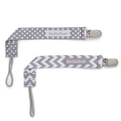 BooginHead 2pk PaciGrip Pacifier Clip Pacifier Holder - Gray Chevron Gray Dots