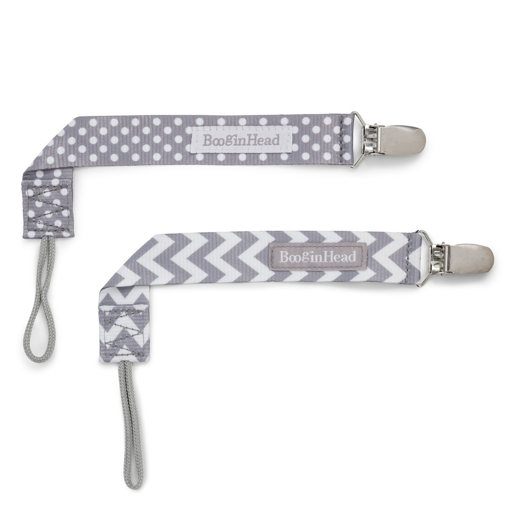 Image of BooginHead 2pk PaciGrip Pacifier Clip Pacifier Holder - Gray Chevron Gray Dots