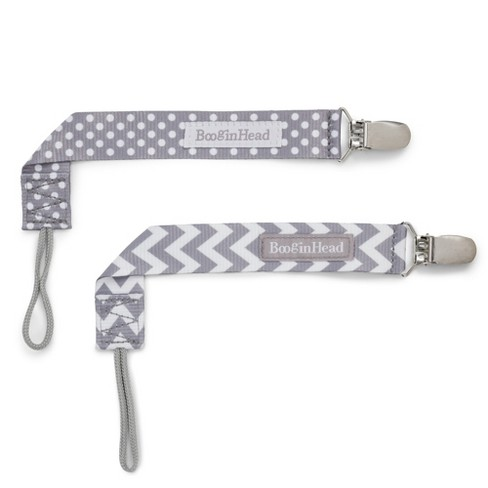 BooginHead 2pk PaciGrip Pacifier Clip Pacifier Holder - Gray Chevron Gray Dots - image 1 of 6
