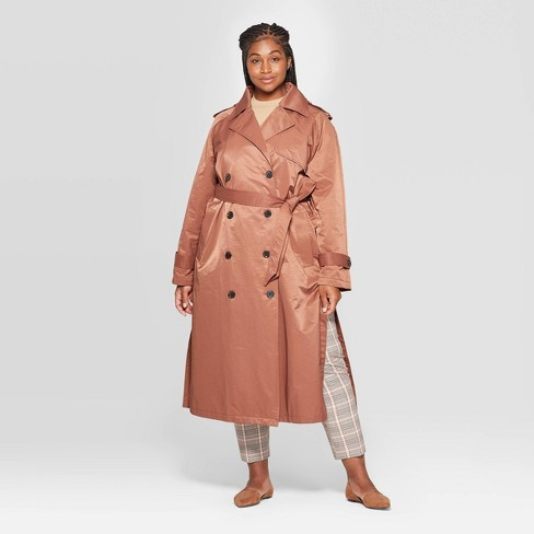 Women's Plus Size Trench Coat - A New Day™ Brown - image 1 of 3
