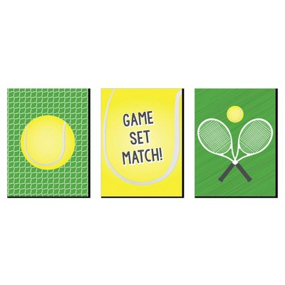 Big Dot of Happiness You Got Served - Tennis - Sports Themed Wall Art, Kids Room Decor and Game Room Home Decor - 7.5 x 10 inches - Set of 3 Prints