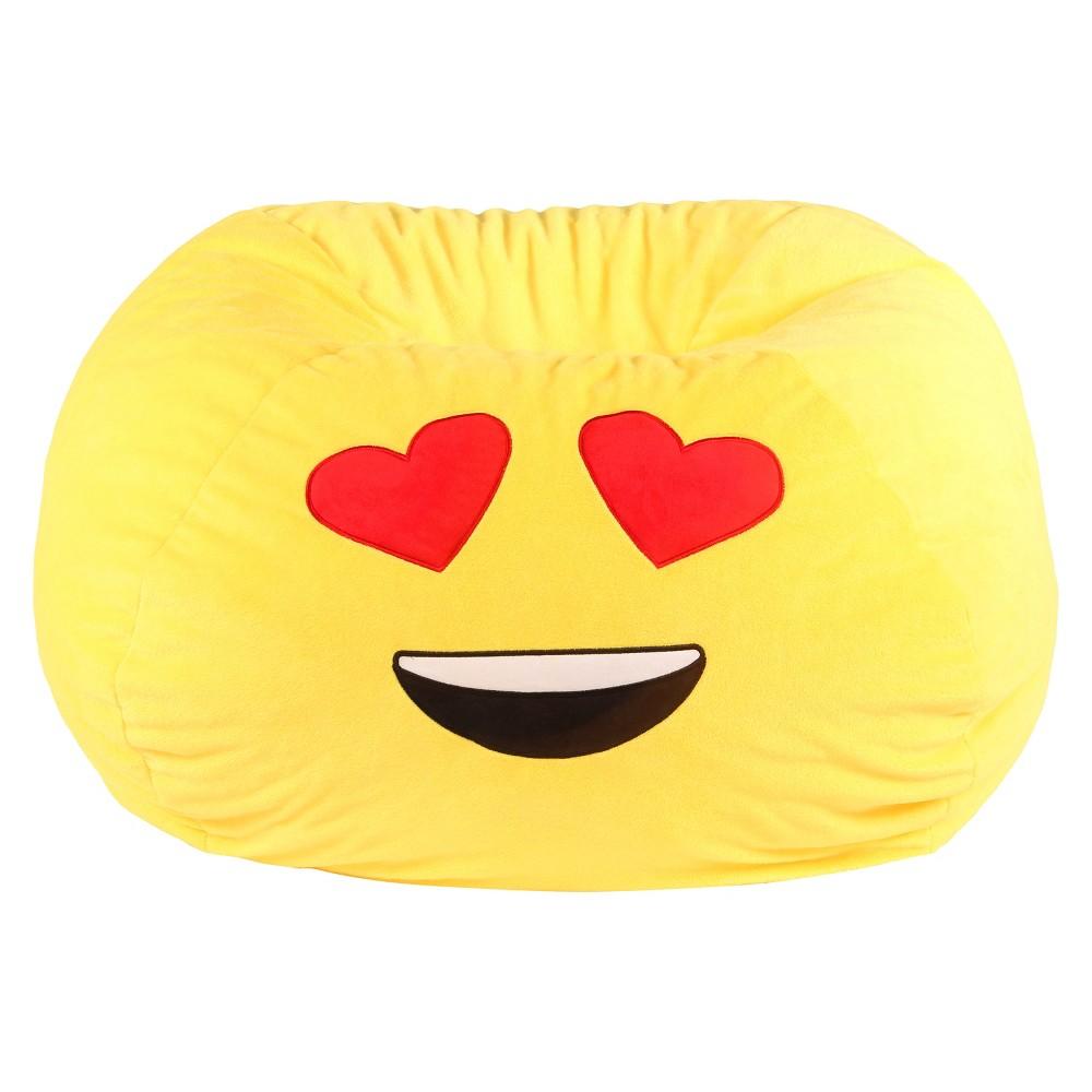Image of Kids Heart Eyes Bean Bag Chair - Yellow -GoMoji