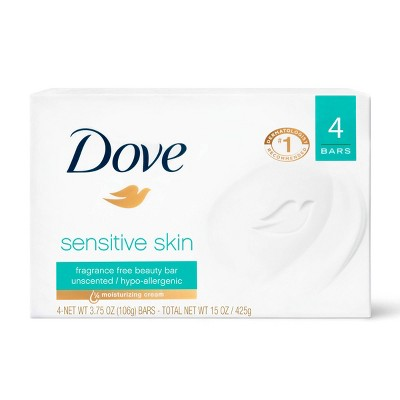 Dove Sensitive Skin Unscented Beauty Bar Soap - 4pk - 3.75oz each