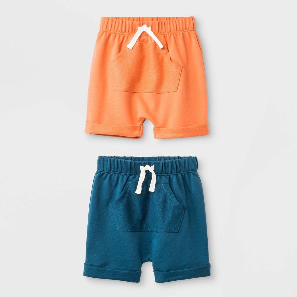 Baby Boys' 2pk Harem Shorts Set - Cat & Jack Blue/Orange 6-9M, Blue Orange