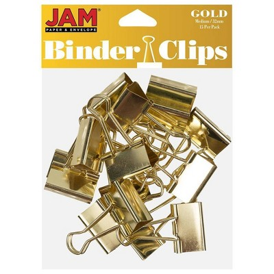 "JAM Paper 1 1/4"" 15pk Colorful Binder Clips - Medium"