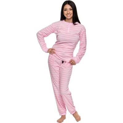 Silver Lilly Women's 2-Piece Fleece Striped Pajama Set
