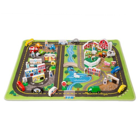 Melissa & Doug Deluxe Activity Road Rug Play Set with 49pc Wooden Vehicles and Play - image 1 of 4