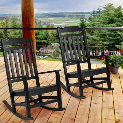 Flash Furniture Set of 2 Winston All-Weather Faux Wood Rocking Chair