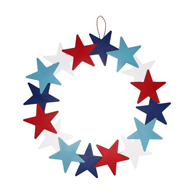 Hanging Star Wreath Red White Blue - Sun Squad™