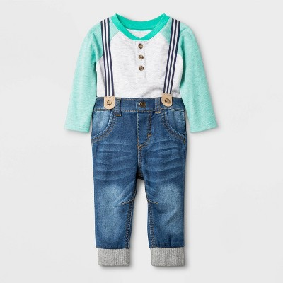 Baby Boys' Long Sleeve Top & Denim Suspender Bottom Set - Cat & Jack™ Gray/Blue 0-3M
