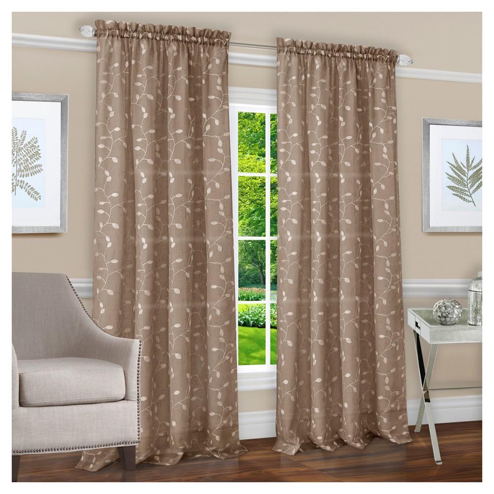 Chloe Rod Pocket Window Curtain Panel Taupe (Brown) (50