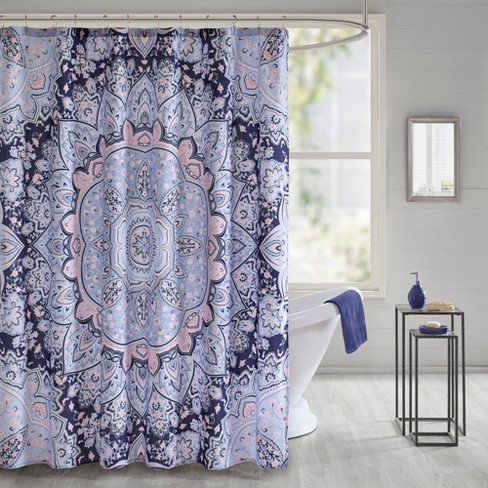 Willow Printed Shower Curtain Blue - image 1 of 2