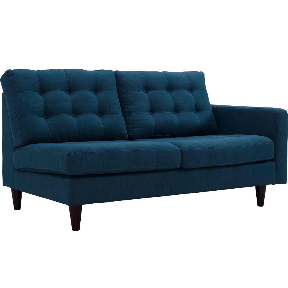 Empress RightFacing Upholstered Fabric Loveseat Azure (Blue) - Modway