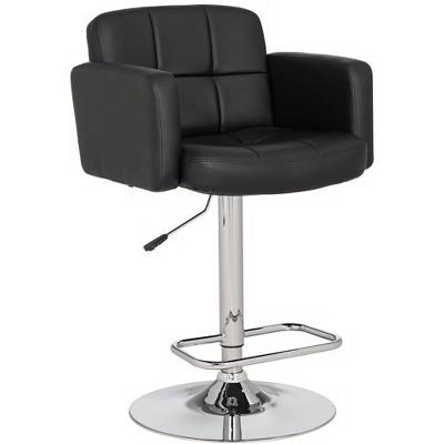 Studio 55D Trek Large Black Faux Leather Adjustable Swivel Bar Stool