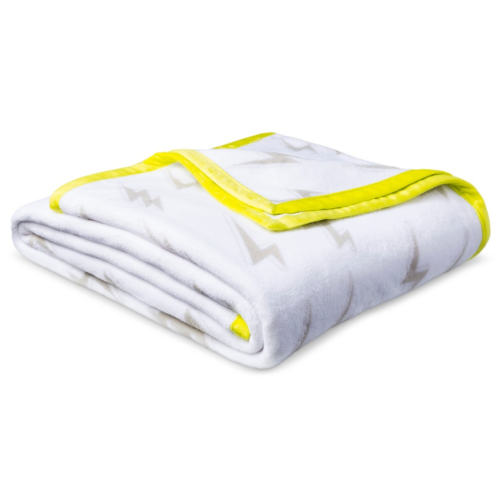 Lightning Bolt Plush Blanket (Twin) Yellow & White - Pillowfort, Gray
