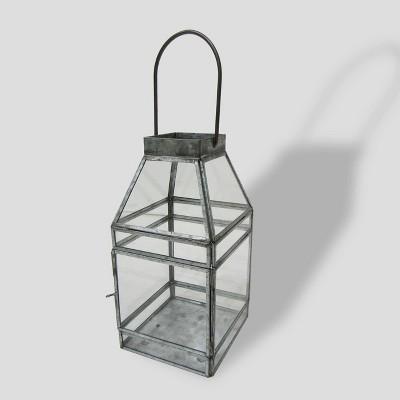 10  Square Galvanized Glass Outdoor Lantern - Threshold™