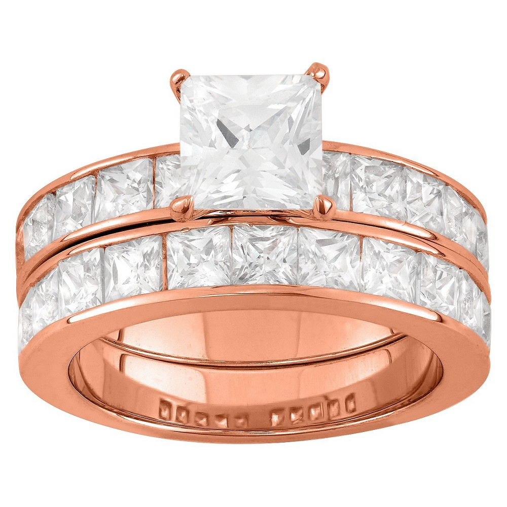 6.36 CT. T.W. Princess-Cut 2 Piece Bridal Ring Set In 14K Gold Over Silver - (7), Girl's, Rose
