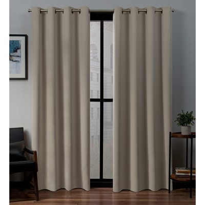 52 x84  Sateen Woven Blackout Grommet Top Window Curtain Panel Pair Stone - Exclusive Home