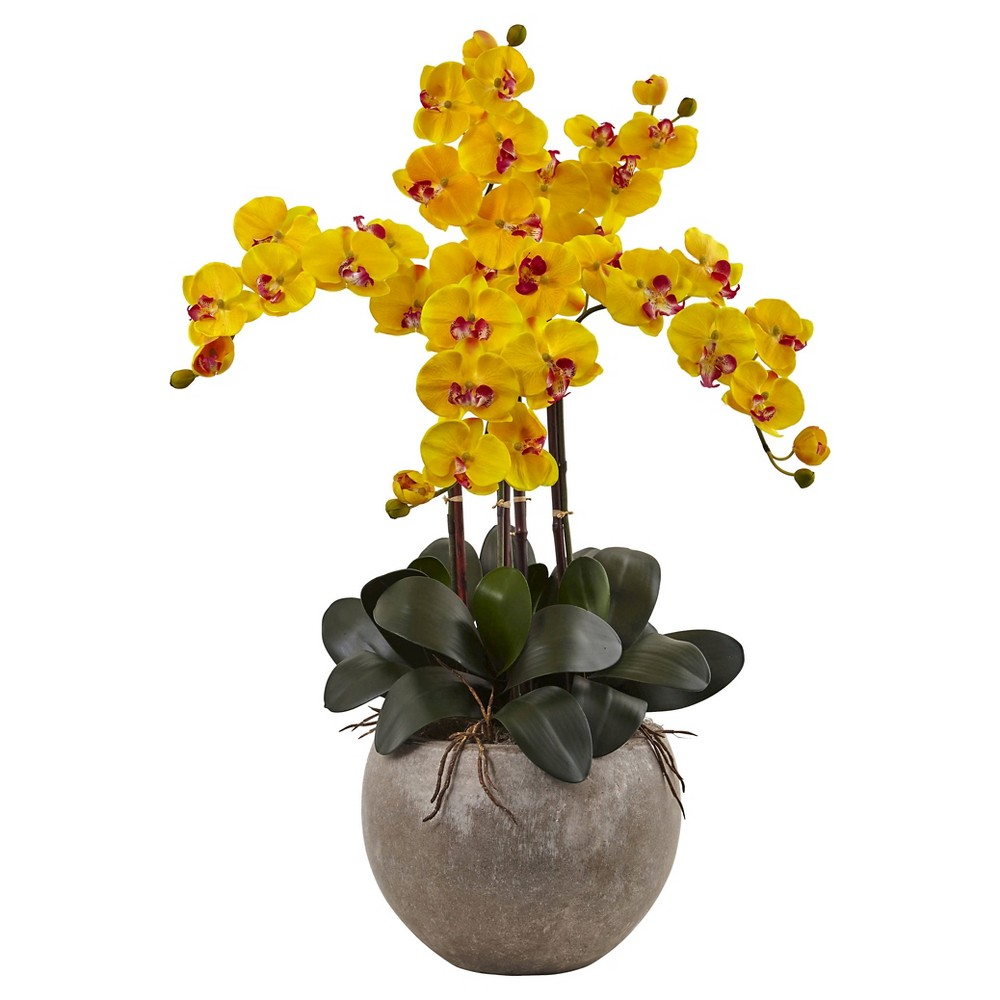 Image of Phalaenopsis Orchid Silk Arrangement with Sand Colored Bowl - Nearly Natural, Yellow