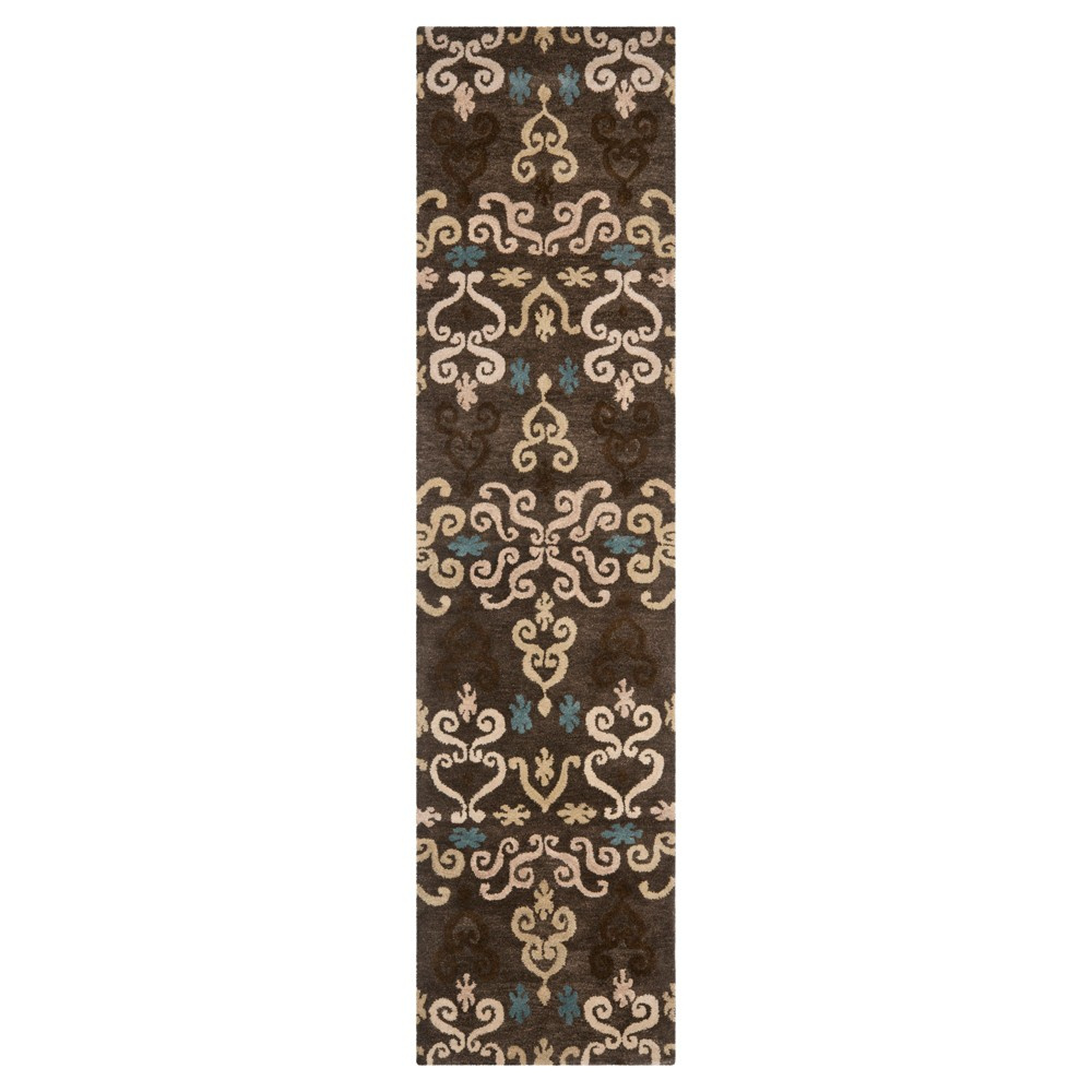 Brown/Multi Abstract Tufted Runner - (2'3X7' Runner) - Safavieh, Brown Multicolored