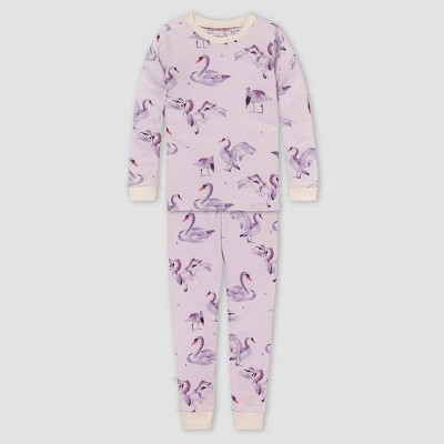 Burt's Bees Baby® Girls' 2pc Swans Organic Cotton Pajama Set - Cream