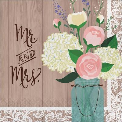 "48ct ""Mr and Mrs"" Rustic Wedding Napkin"
