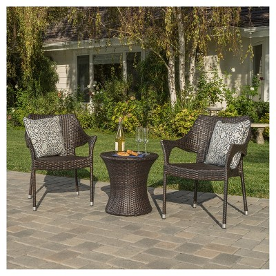 Mirage 3pc Wicker Stacking Chair Chat Set - Christopher Knight Home