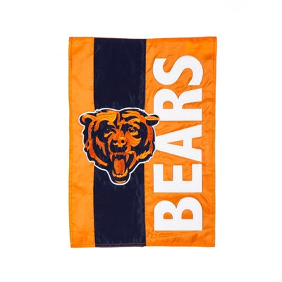 Team Sports America Chicago Bears Outdoor Safe Double-Sided Embroidered Logo Applique Garden Flag, 12.5 x 18 inches