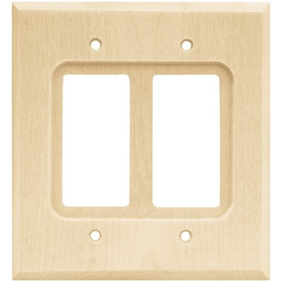 Franklin Brass Square Double Decorator Wall Plate Unfinished Wood Brown
