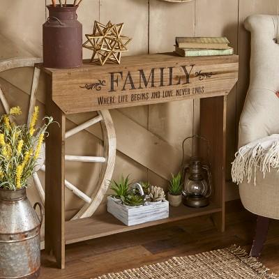"Lakeside Farmhouse Sentiment Console Table - ""Family"" - Rustic Country Decor"