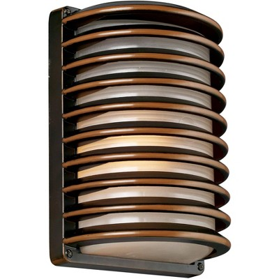 """John Timberland Modern Outdoor Wall Light Fixture Rubbed Bronze 10"""" Banded Grid Frosted Glass for Exterior House Porch Patio Deck"""